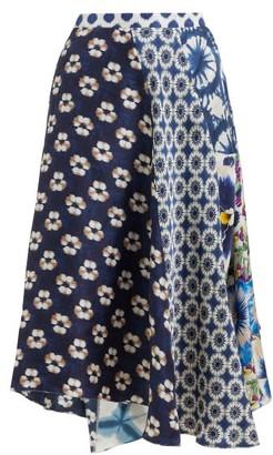 Biyan Mariko Asymmetric Floral-print Silk Skirt - Womens - Navy Multi