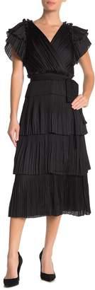 Diane von Furstenberg Sasha Pleated Ruffle Silk Wrap Dress