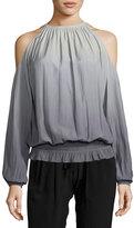 Ramy Brook Lauren Ombré; Cold-Shoulder Top, Silver/Gunmetal