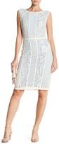 Sangria Mixed Lace Sheath Dress