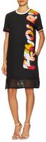 Fendi Silk Print Mesh Inset Shift Dress