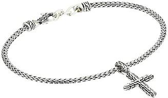 John Hardy Classic Chain Cross Charm on 2.5 mm Mini Chain Bracelet with Lobster Clasp (Silver) Bracelet