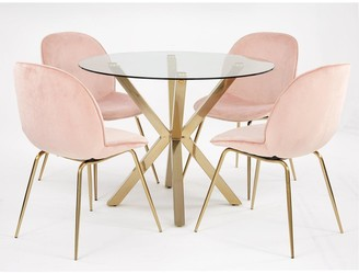 Chopstick 100cm Round Brass Dining Table + 4 Penny Velvet Chairs - Brass/Pink