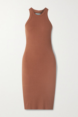 WSLY The Rivington Ribbed Stretch-jersey Dress - Brick