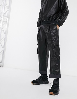 ASOS DESIGN balloon fit cargo pants in faux leather