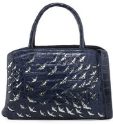 Christian Louboutin Painted Cranes Crocodile New Work Tote Bag, Navy/Anthracite