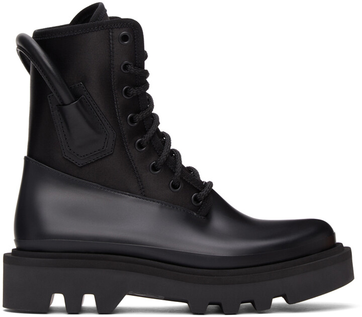 Givenchy Black Satin & Rubber Combat Boots