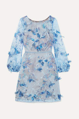 Marchesa Satin-trimmed Embroidered And Appliqued Tulle Mini Dress - Blue