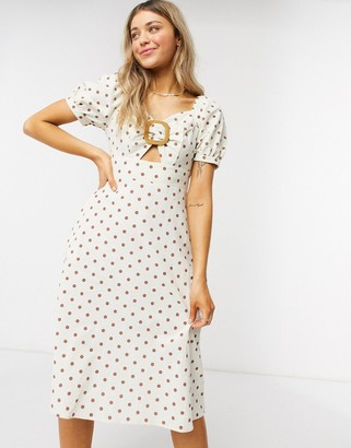 Qed London buckle front midi dress with puff sleeves in polka dot
