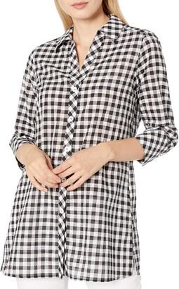 Foxcroft Women's 3/4 Sleeve Rosita Gingham Tunic