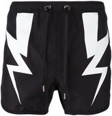 Neil Barrett lightning bolt swim shorts - men - Cotton/Polyester - XS