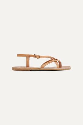 Ancient Greek Sandals Semele Embellished Leather Sandals - Beige