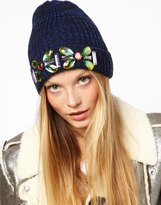 ASOS Embellished Turn Up Beanie - Navy