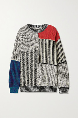 Stella McCartney Patchwork Oversized Knitted Sweater - Gray