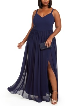 City Studios Trendy Plus Size Chiffon Slit Gown