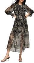 Topshop Animal-Print Pintuck Pullover Dress