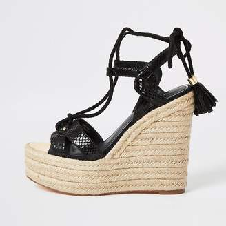 River Island Black tie ankle high wedge sandals