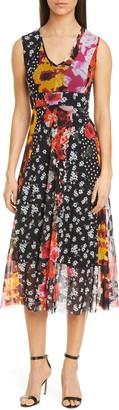 Fuzzi Floral & Dot Sleeveless Tulle Dress