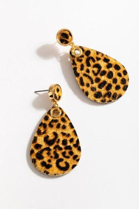 francesca's Jayla Cheetah Teardrop Earrings - Brown