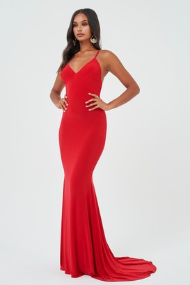 Club L Womens **Red Cross Back Fishtail Maxi Dress By Red