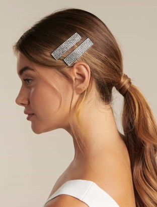 Forever New Tisha Diamante Two-Pack Hair Clips - Silver - 00