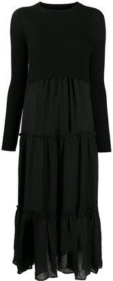 AllSaints Long-Sleeved Pleated Midi Dress