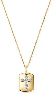 Bloomingdale's Diamond Cross Dog Tag Pendant Necklace in 14K Yellow Gold, 18, 0.10 ct. t.w. - 100% Exclusive