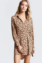 Forever 21 Belted Leopard Shirt Dress