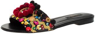 Dolce & Gabbana Black Leather Pom Pom And Mirror Embellished Flat Sandals Size 35