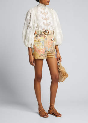 Zimmermann Brightside Belted Piped Shorts