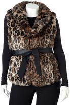 Plus Size Excelled Leopard Faux-Fur Vest