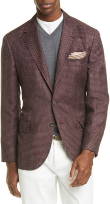 Brunello Cucinelli Trim Fit Houndstooth Linen Blend Sport Coat