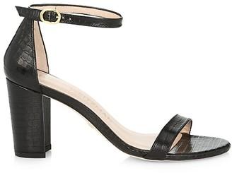 Stuart Weitzman Nearlynude Block-Heel Croc-Embossed Leather Sandals