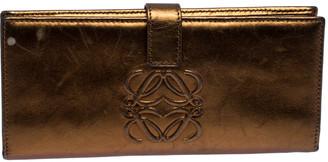 Loewe Metallic Bronze Leather Flap Bifold Long Wallet