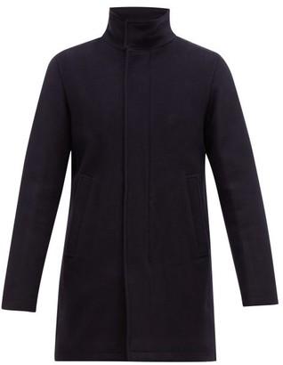 Herno Funnel-neck Wool-blend Overcoat - Mens - Navy