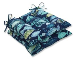 Pillow Perfect Hooked Lagoon Wrought Iron Seat Cushion, Set of 2