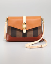 Leather Flap-Top Canvas Crossbody Bag