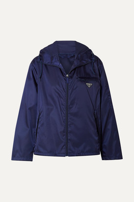Prada Appliqued Hooded Shell Jacket - Navy