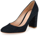 Gianvito Rossi Linda Denim Block-Heel Pump, Blue