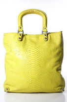 Club Monaco Yellow Leather Embossed Satchel Handbag