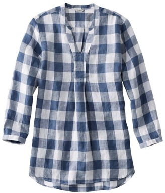 L.L. Bean Women's Premium Washable Linen Long Tunic, Plaid