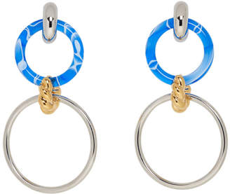 Balenciaga Silver and Blue Triple Hoop Earrings