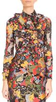 Mary Katrantzou Psychedelic Lion Tie-Neck Blouse, Multi/Red