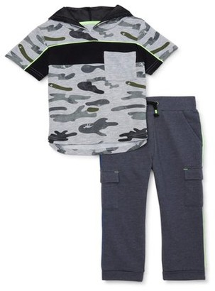 Wonder Nation Baby Toddler Boy Short Sleeve Hooded T-shirt & Cargo Pants, 2pc Outfit Set