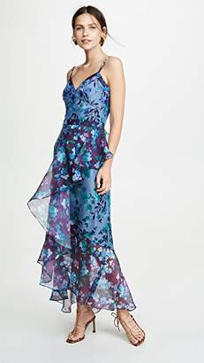 Marchesa Sleeveless Colorblock High Low Gown