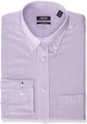 Izod Men's Dress Shirt Regular Fit Stretch Button Down Collar Check