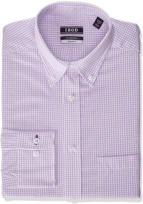 Izod Mens Regular Fit Stretch Button Down Collar Check Dress Shirt