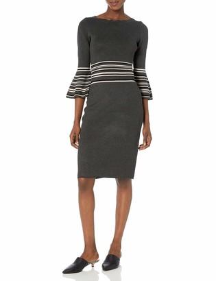 Gabby Skye Women's 3/4 Bell Sleeve Scoop Neck Stripe Midi Sheath Sweater Dress