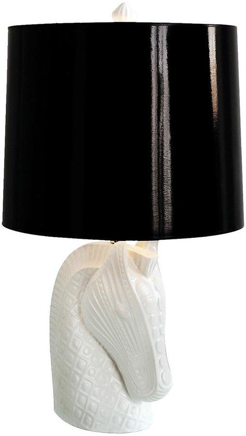 Jonathan Adler Horse Head Lamp-White Base, Black Shade