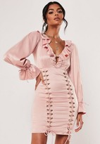 Missguided Pink Satin Ruffle Neck Hook And Eye Mini Dress